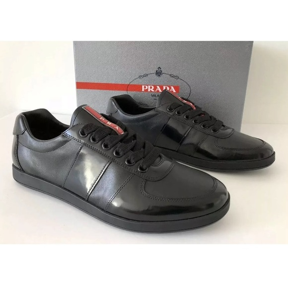 ef308a111 PRADA MENS BLACK GLOSSY LEATHER SNEAKERS US 10